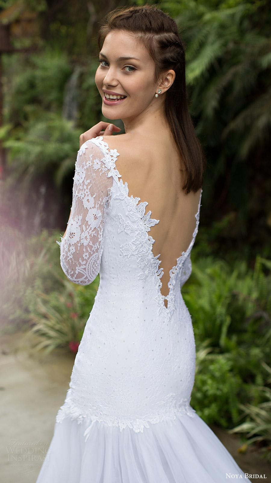 noya bridal 2016 3 quarter sleeves split sweetheart fit flare wedding dress (1205) bv lowback elegant