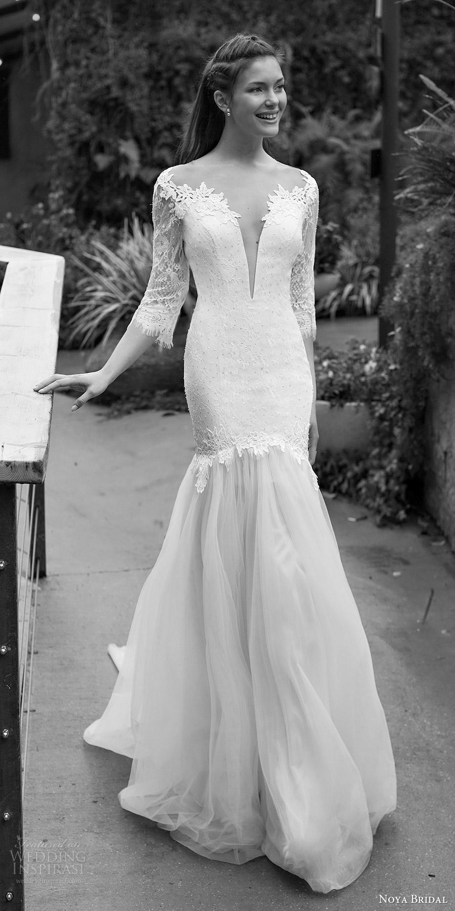 noya bridal 2016 3 quarter sleeves split sweetheart fit flare wedding dress (1205) mv elegant