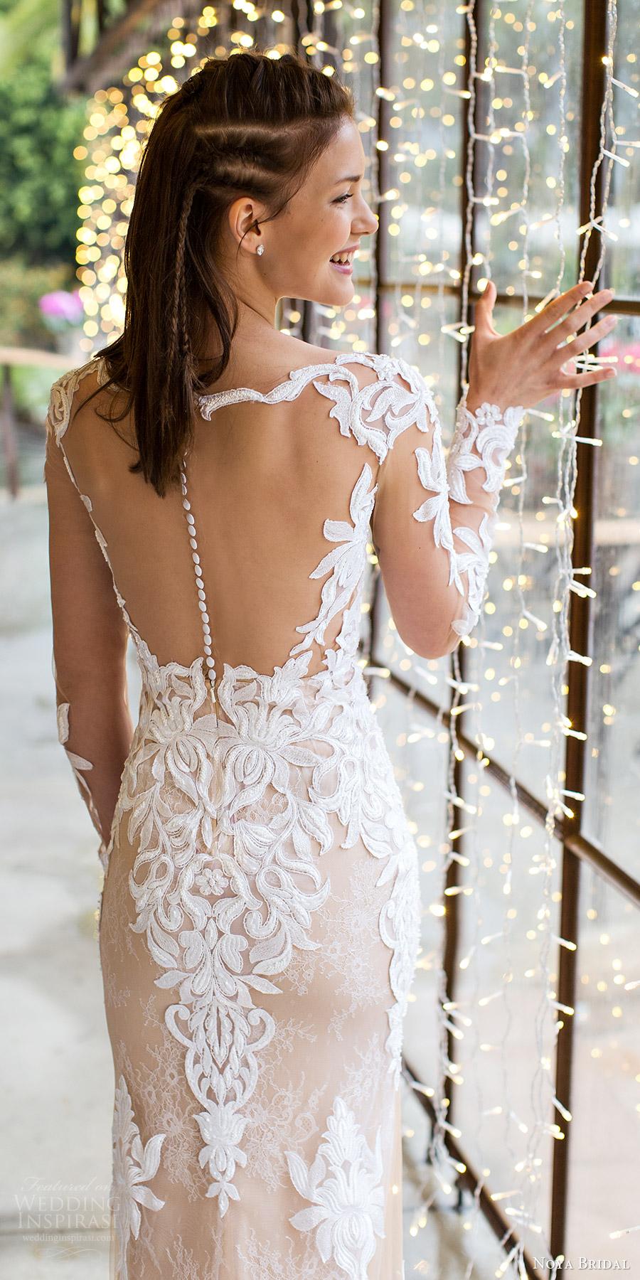 noya bridal 2016 illusion long sleeve scalloped sweetheart illusion jewel sheath wedding dress (1201) zbv illusionback train elegant