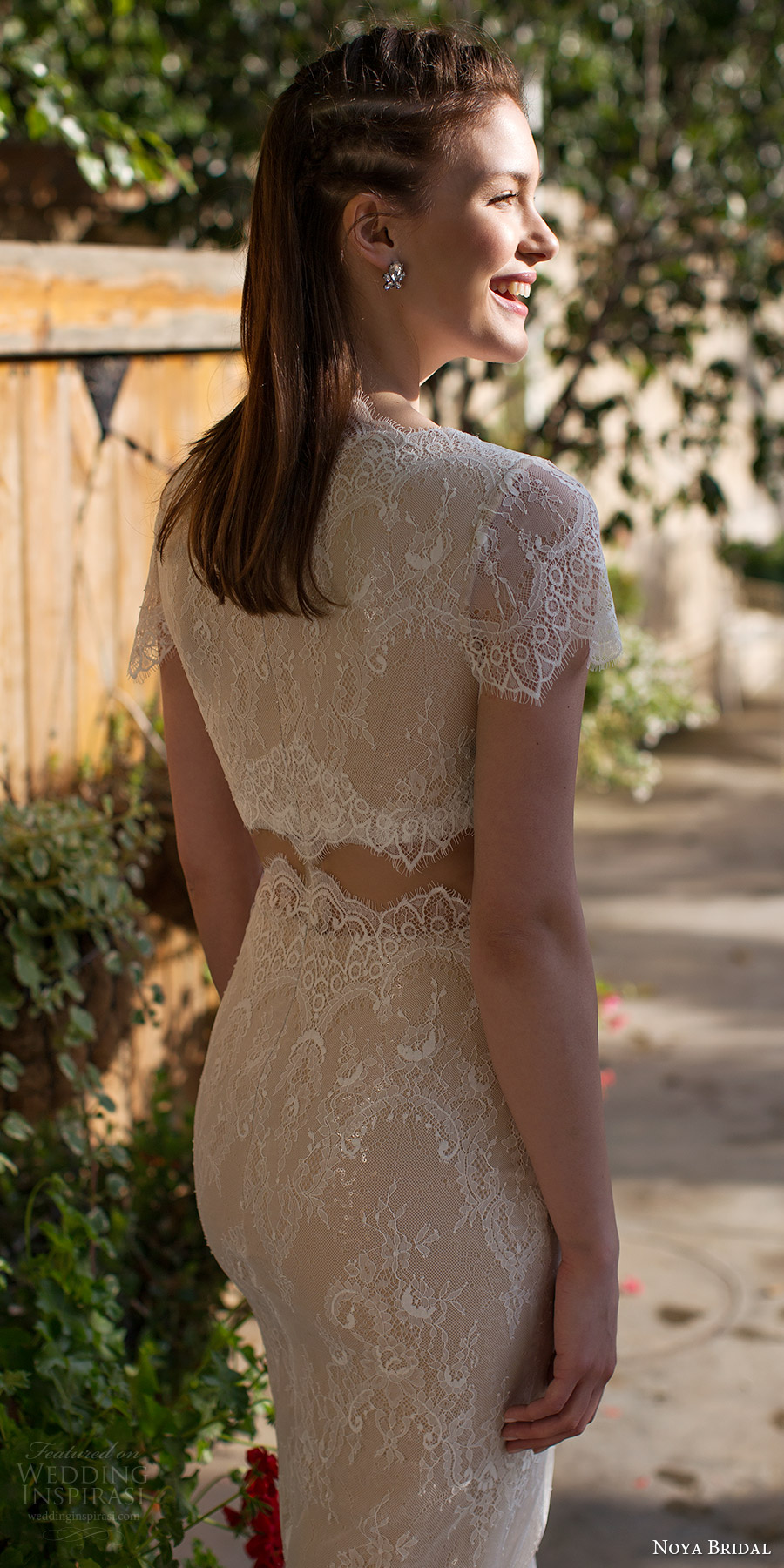 noya bridal 2016 short sleeves jewel neck sheath lace wedding dress (1213) bv edgy crop top