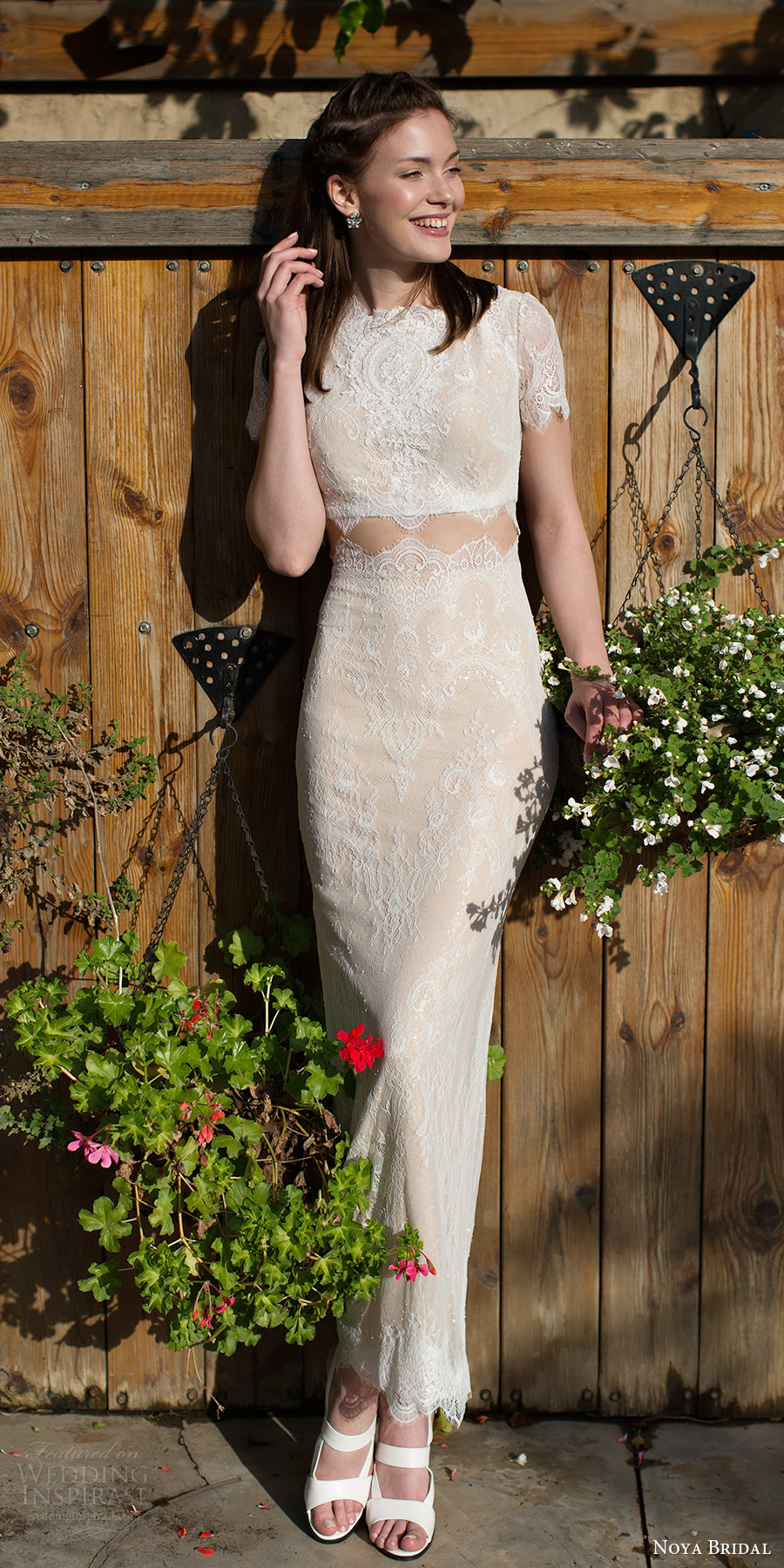 noya bridal 2016 short sleeves jewel neck sheath lace wedding dress (1213) mv edgy crop top