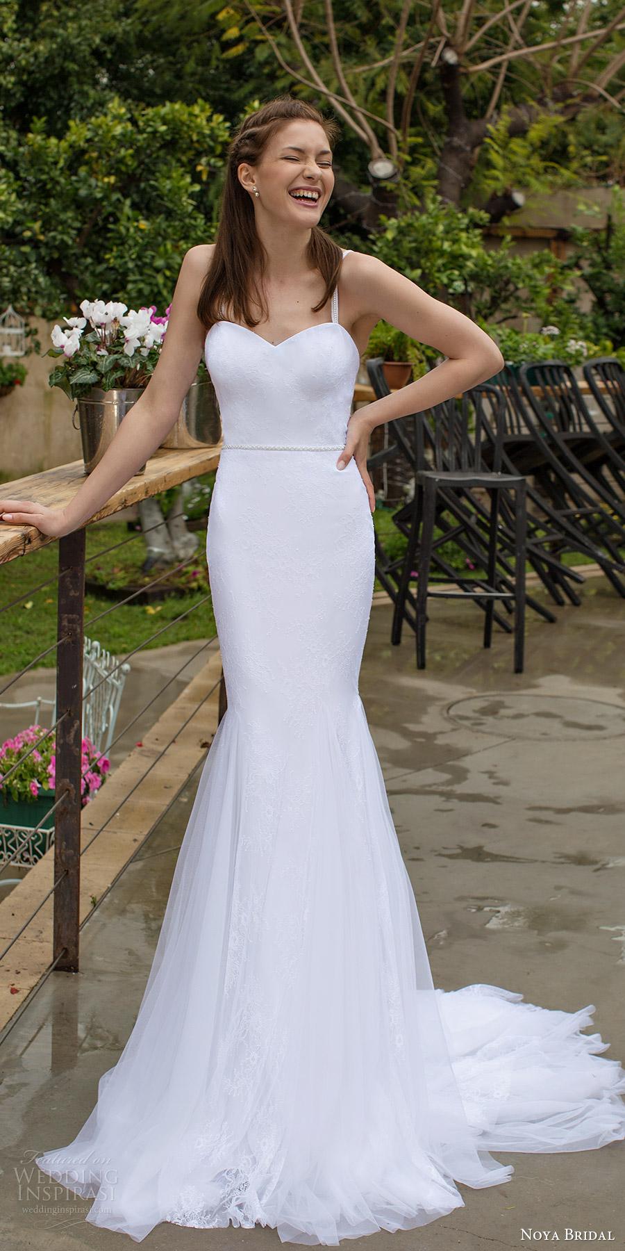 noya bridal 2016 sleeveless strap sweetheart mermaid trumpet wedding dress (1206) mv train