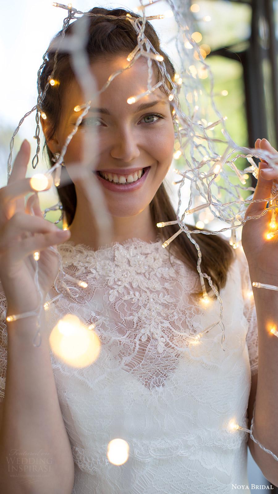 noya bridal 2016 sleeveless v neck illusion jewel lace mermaid fit flare wedding dress (1211) zv romantic shortsleeve top