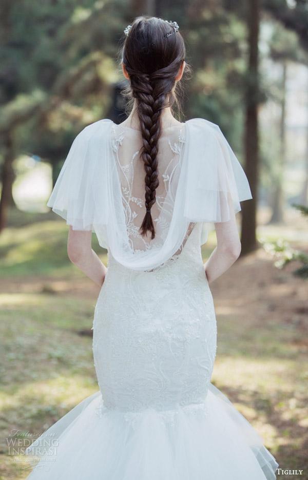 tiglily bridal 2016 flutter sleeves cowl neck fit flare mermaid wedding dress (marissa) mv illusion back