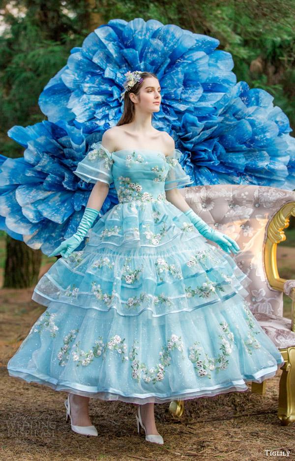 Colored Tea Length Wedding Dress