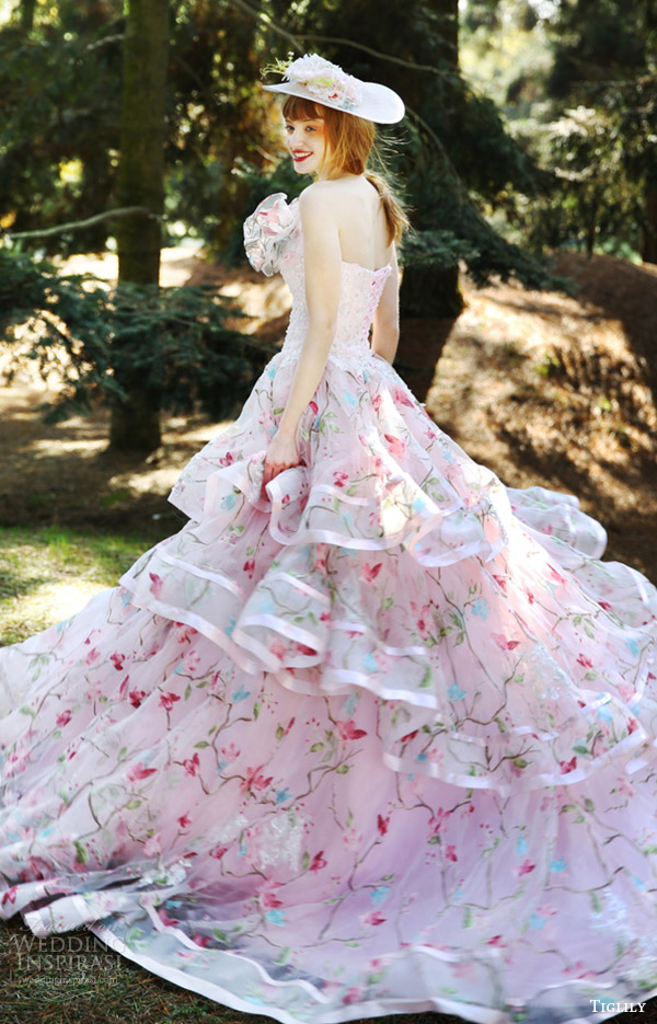 tiglily bridal 2016 strapless ball gown wedding dress (elissa) mv tiered skirt pink color