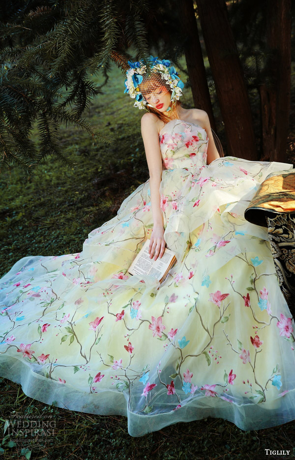 tiglily bridal 2016 strapless crumbcatcher ball gown wedding dress (elly) mv yellow color floral print romantic princess