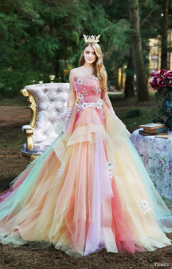 tiglily bridal 2016 strapless straightacross aline wedding dress (joyce) mv multicolor romantic