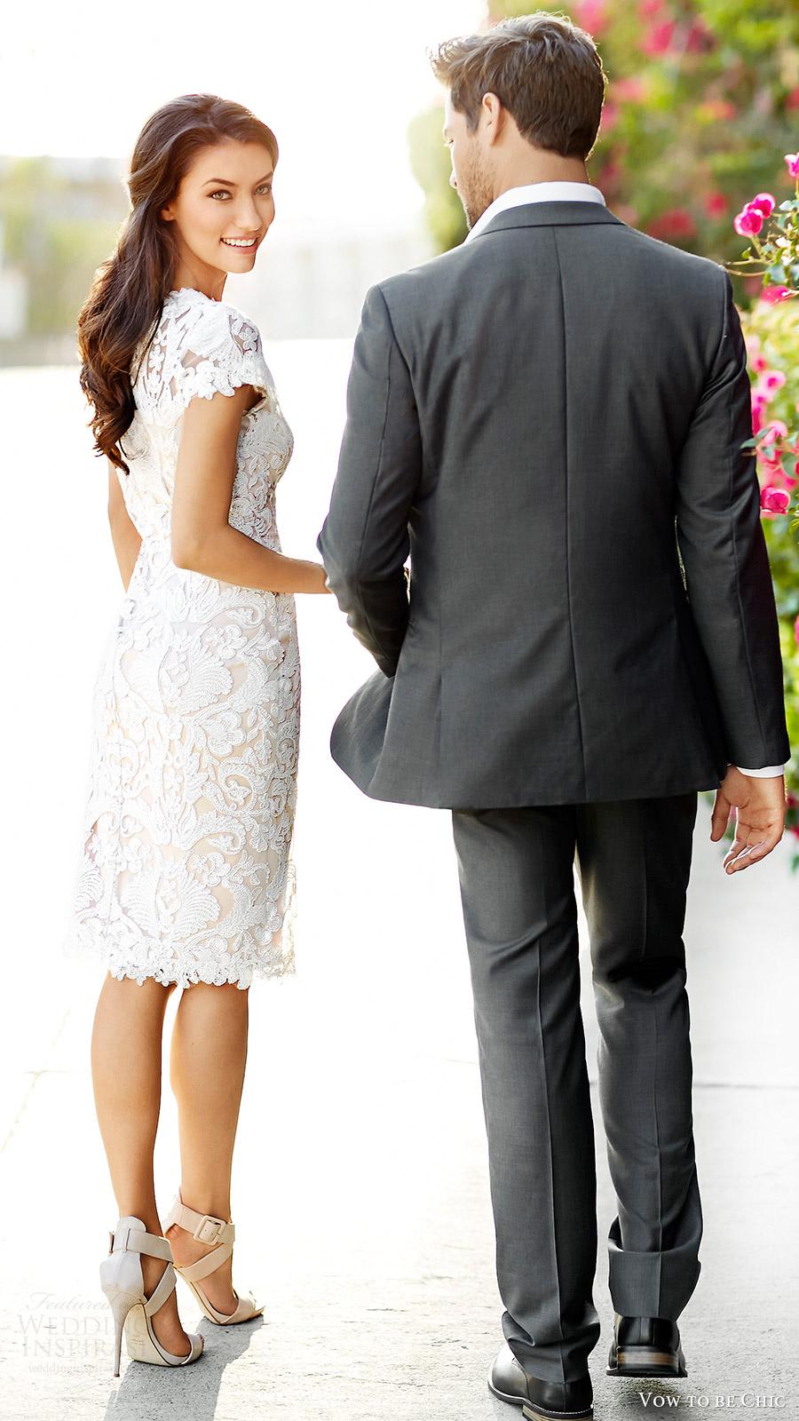 vow to be chic 2016 bridal rental tadashi shoji elizabeth lace short wedding dress cap sleeves back