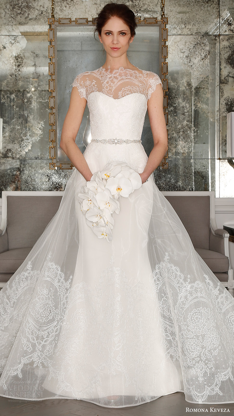 romona keveza bridal spring 2017 cap sleeves sweetheart illusion high neck sheath wedding dress (rk7404) mv optional sheer aline overskirt