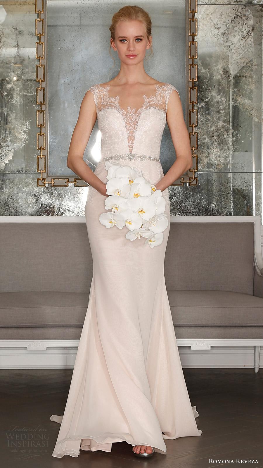 romona keveza bridal spring 2017 illusion cap sleeves sweetheart deep vneck sheath wedding dress (rk7405nt) mv