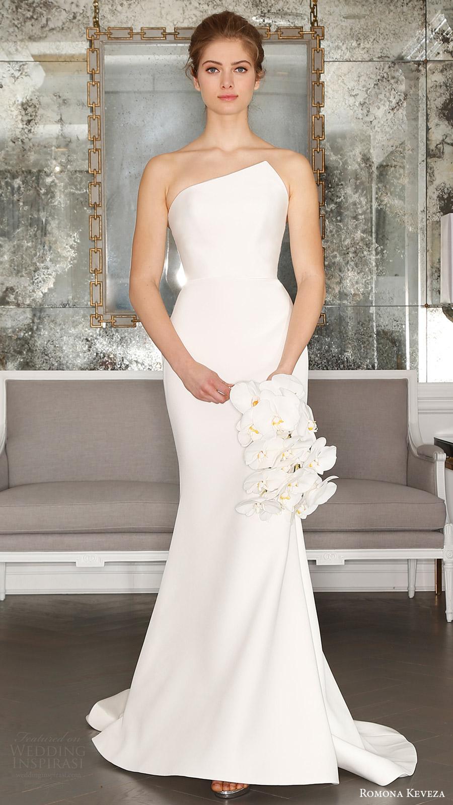 romona keveza bridal spring 2017 strapless asymmetric neck trumpet wedding dress (rk7403) mv