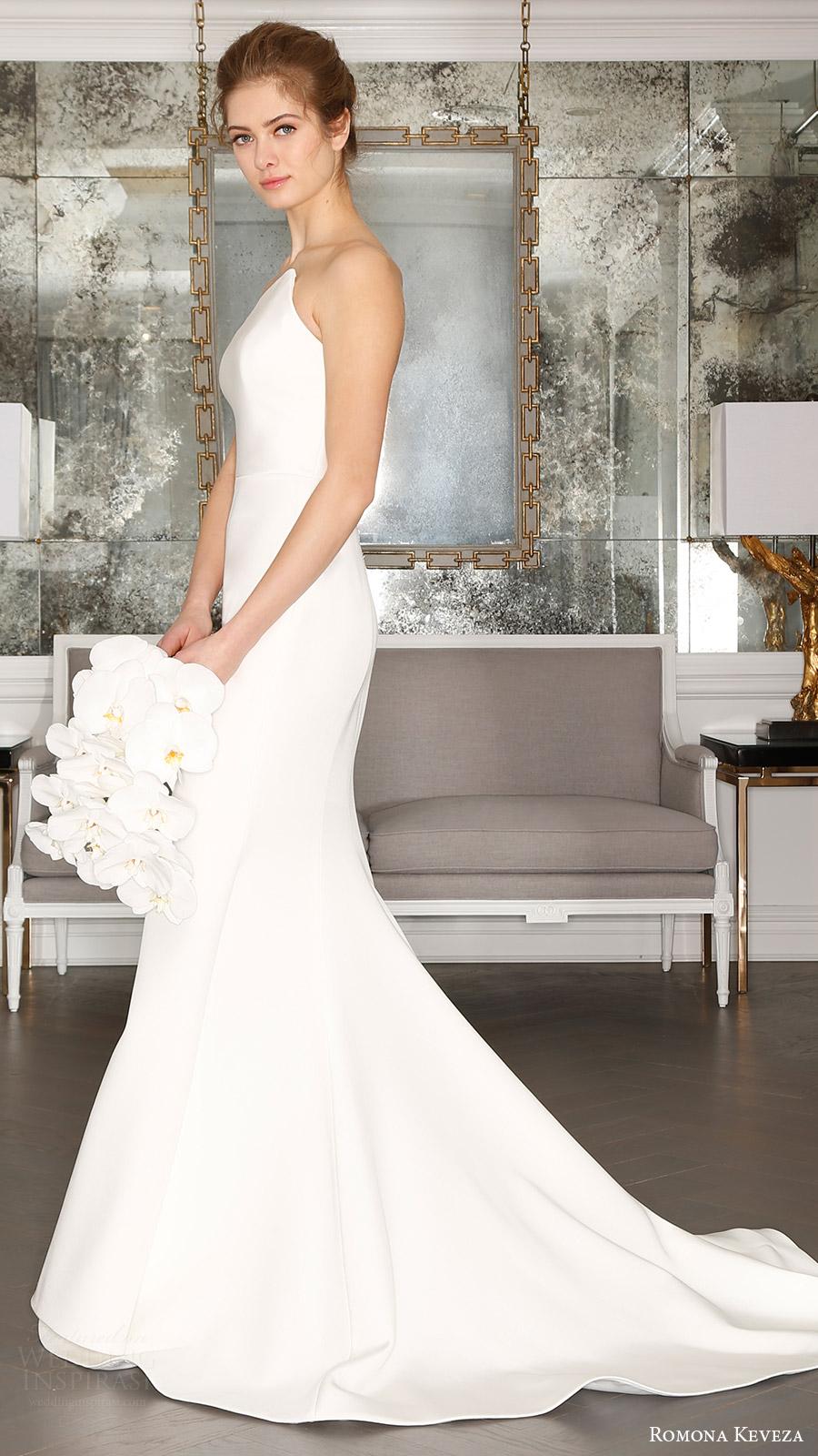 romona keveza bridal spring 2017 strapless asymmetric neck trumpet wedding dress (rk7403) sv train