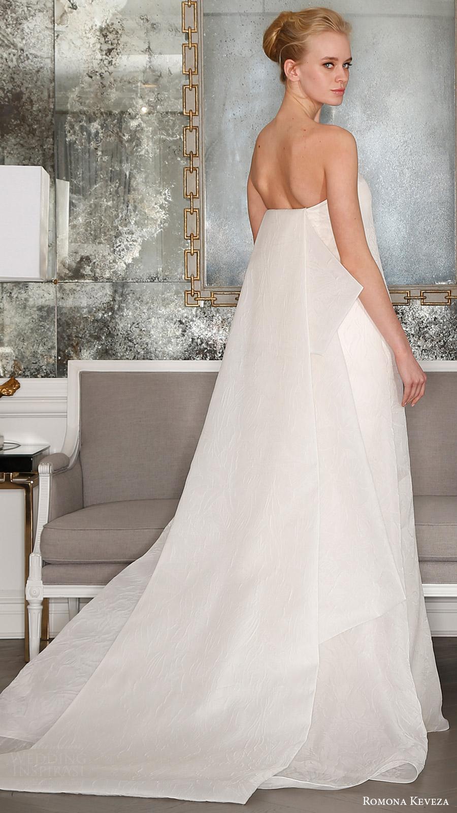 romona keveza bridal spring 2017 strapless straightacross tent wedding dress (rk7401) bv detachable obi train