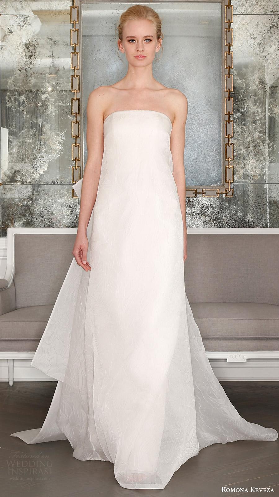 romona keveza bridal spring 2017 strapless straightacross tent wedding dress (rk7401) mv detachable obi train