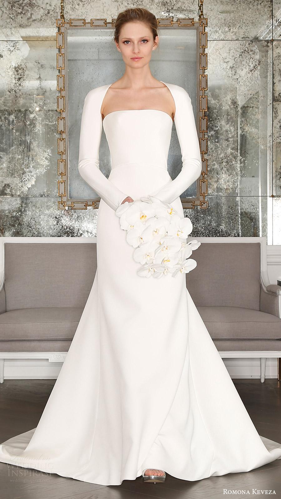 romona keveza bridal spring 2017 strapless straightacross trumpet wedding dress (rk7402) mv optional long sleeve shrug