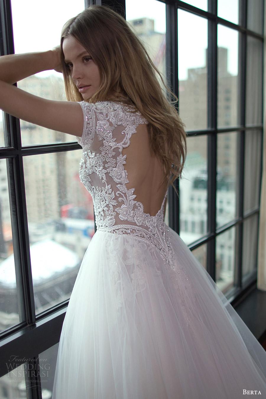 berta bridal fall 2016 cap sleeves deep sweetheart aline wedding dress (16 112) bv keyhole