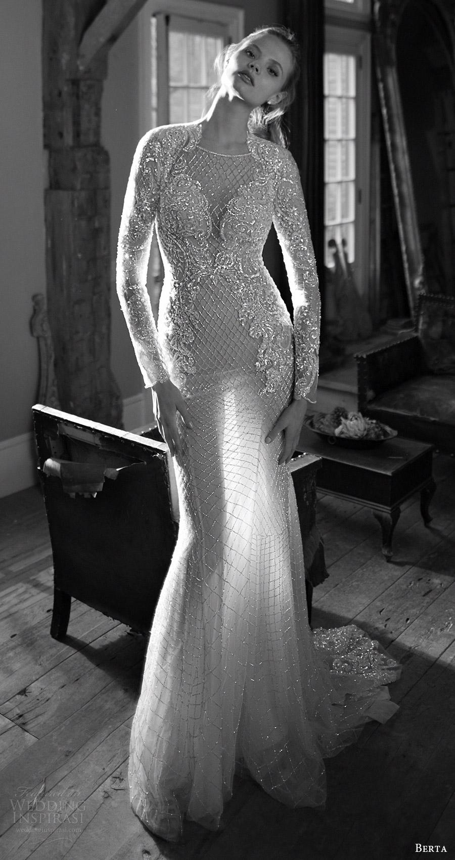 berta bridal fall 2016 long sleeves queen anne neckline fully beaded trumpet wedding dress (16 113) mv