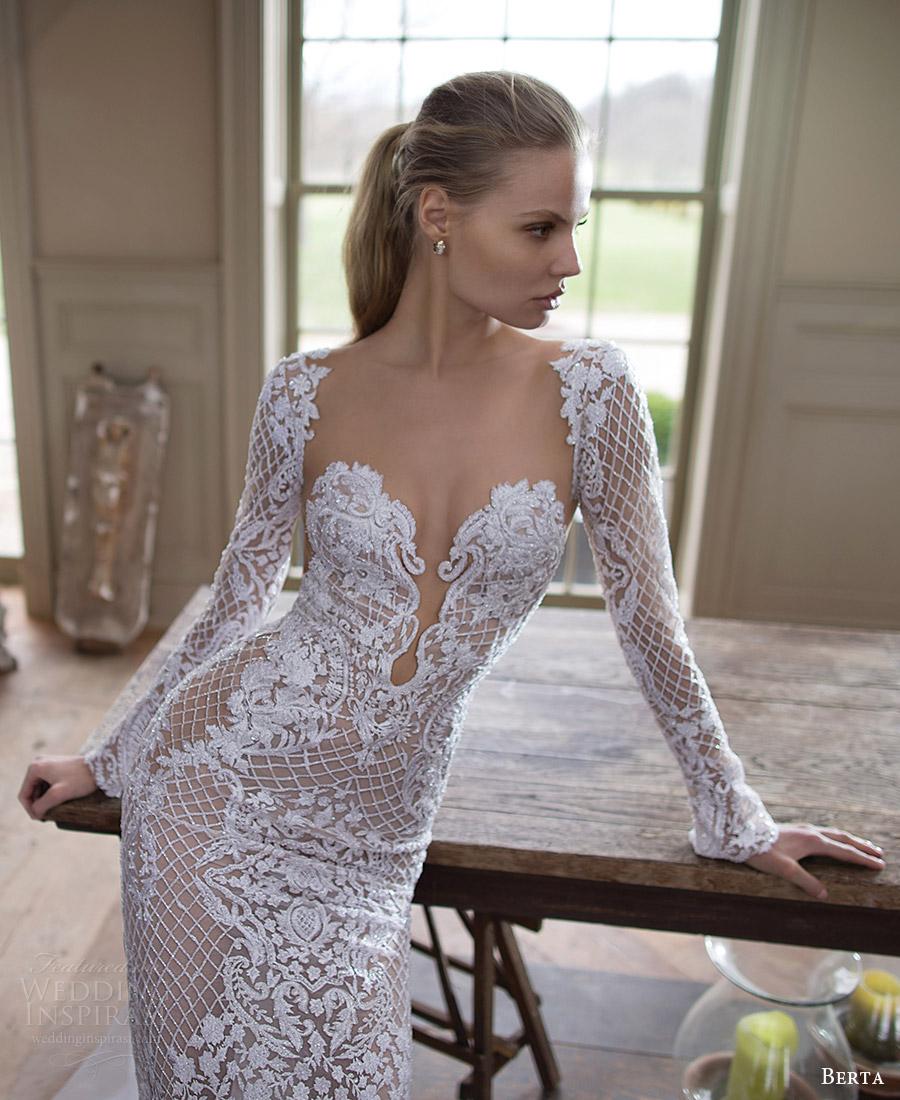 berta bridal fall 2016 long sleeves sweetheart beaded sheath wedding dress (16 123) mv