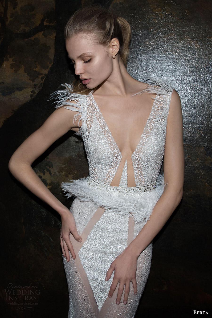 berta bridal fall 2016 sleeveless deep vneck beaded sheath wedding dress (16 124) mv feather art deco