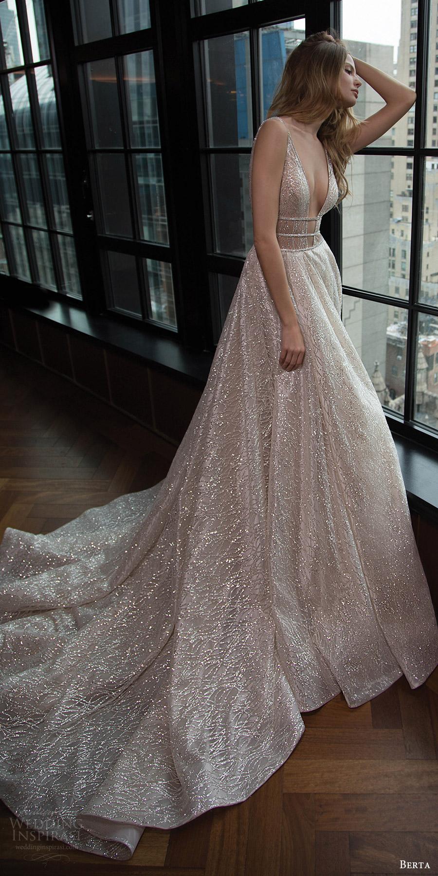 berta bridal fall 2016 sleeveless deep vneck embellished aline wedding dress (16 101) fv