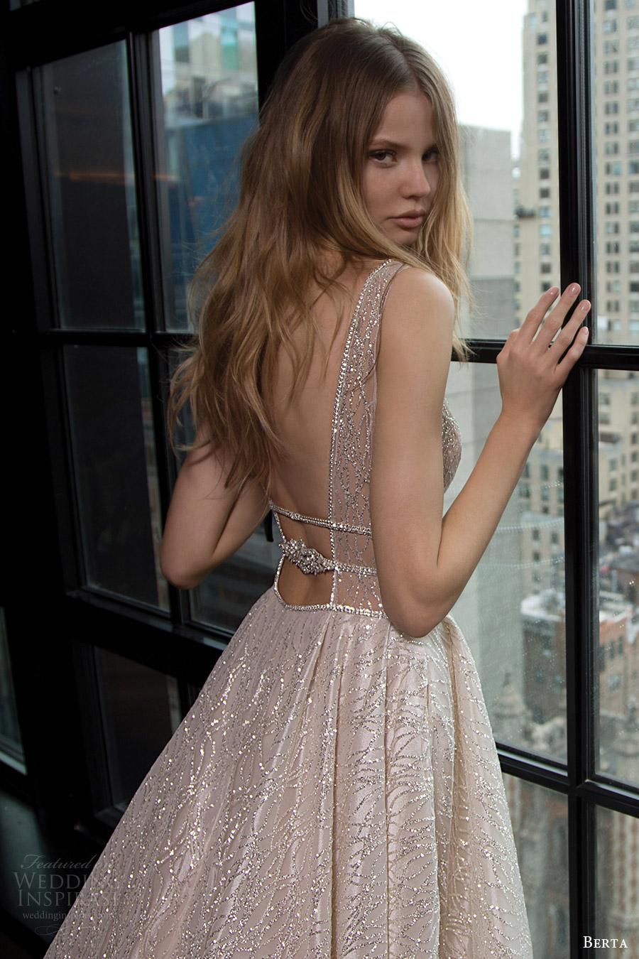 berta bridal fall 2016 sleeveless deep vneck embellished aline wedding dress (16 101) zbv