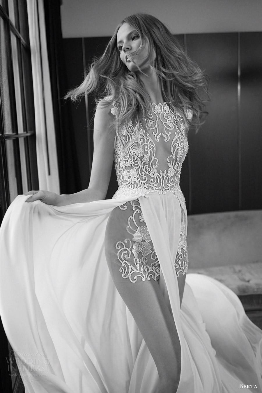 berta bridal fall 2016 sleeveless illusion jewel neck wedding dress aline double slit overskirt (16 106) zv
