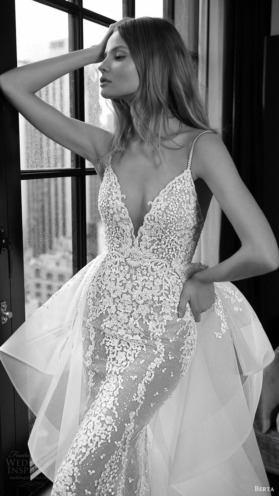 berta bridal fall 2016 sleeveless vneck sheath wedding dress (16 108) zv overskirt train