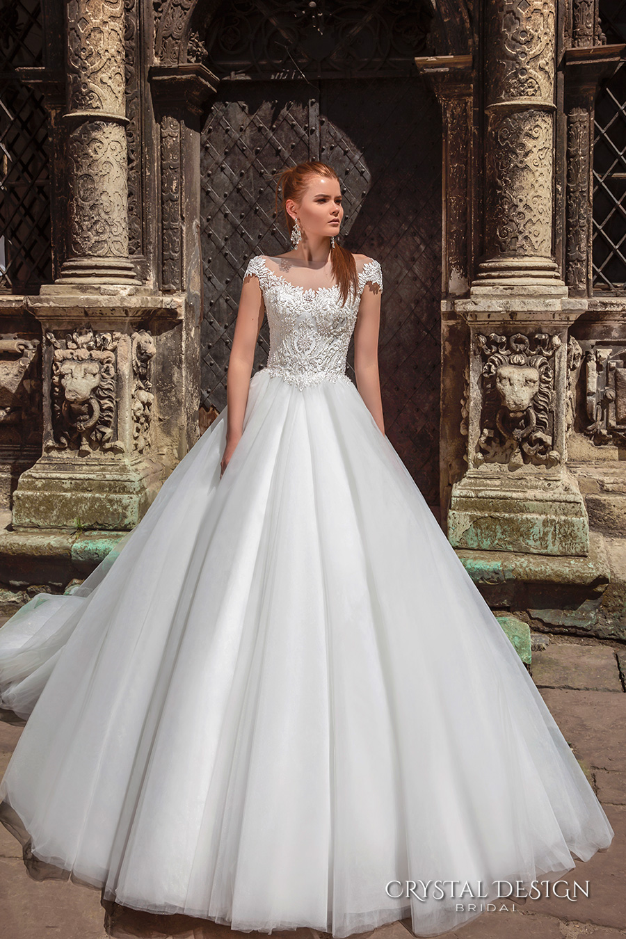 crystal design bridal 2016 cap sleeves scoop round neckline heavily embellished bodice a  line tulle ball gown wedding dress v back chapel train (maram) mv