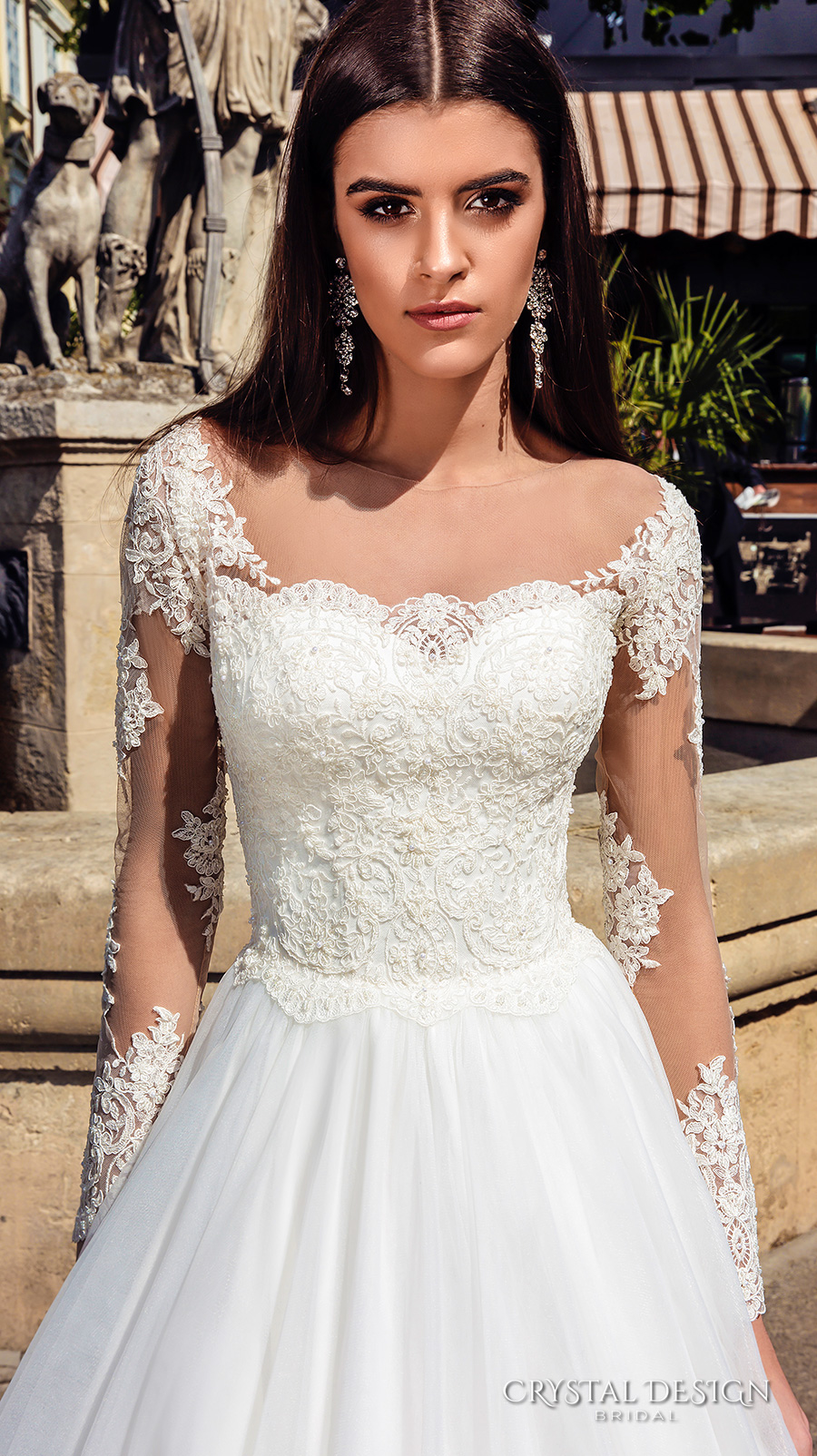 crystal design bridal 2016 illusion long sleeves sweetheart neckline lace bodice pretty princess ball gown wedding dress chapel train (alika) zv