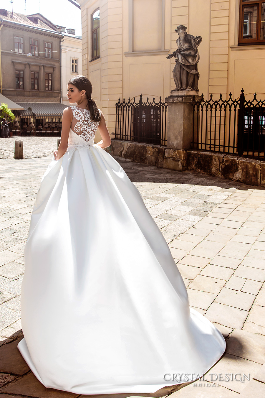 crystal design bridal 2016 sleeveless boat neckline embroidered bodice elegant a  line ball gown wedding dress lace illusion back royal train (ninelli) bv