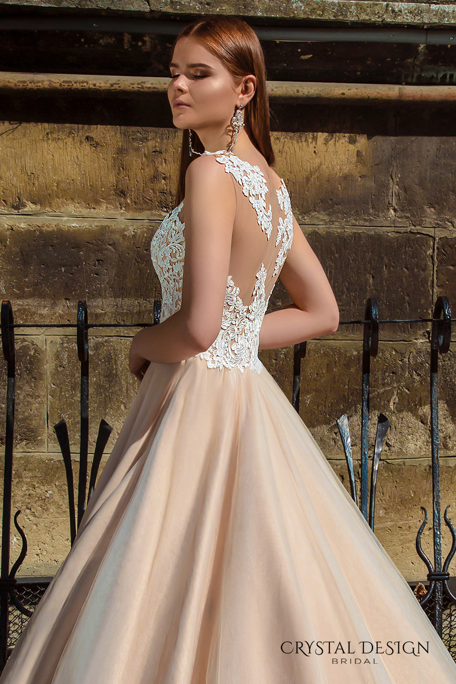 crystal design bridal 2016 sleeveless embellished semi sweetheart neckline lace bodice champagne color princess a  line ball gown wedding dress illusion back royal train (ariel) zsdv