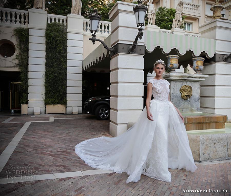 alessandra rinaudo 2017 bridal cap sleeves boat neckline lace embellished bodice romantic sheath wedding dress a  line train lace back long train (34) mv