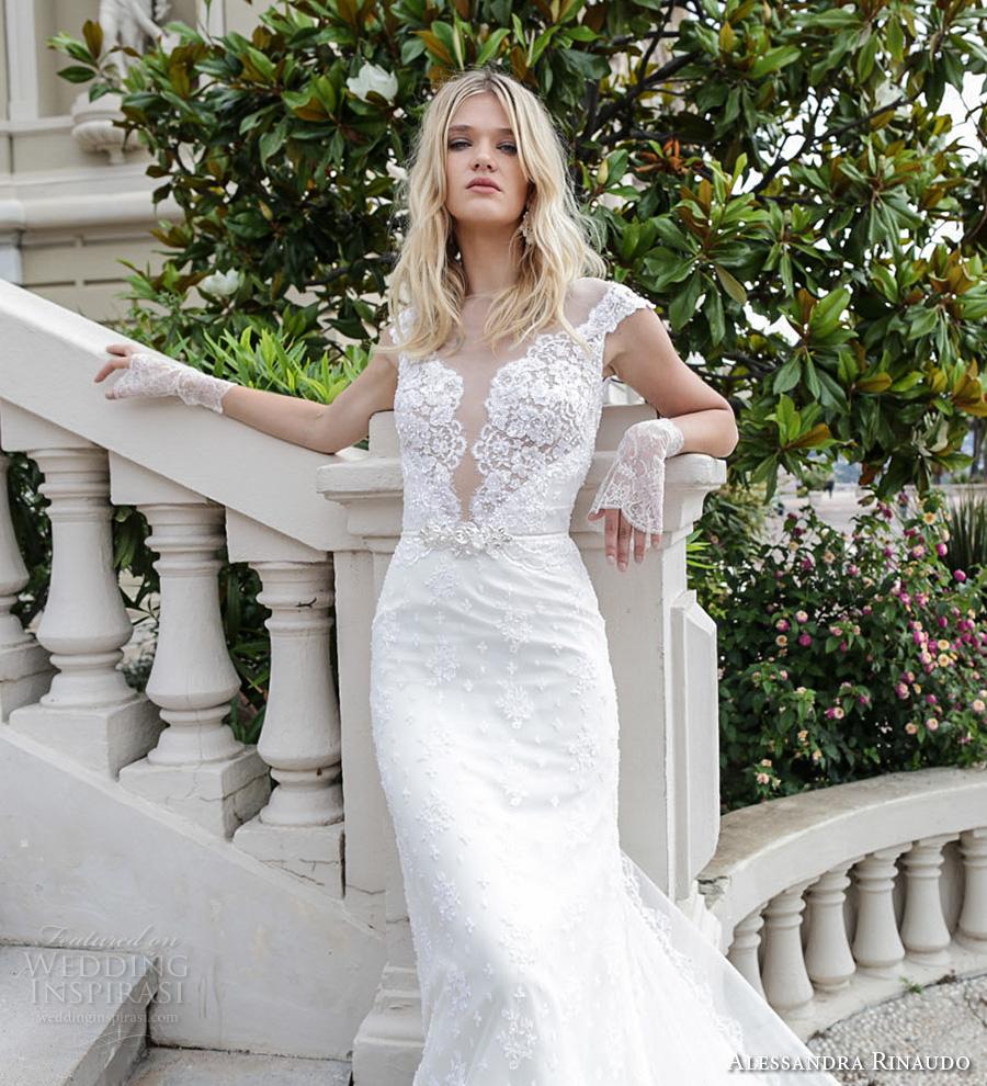 alessandra rinaudo 2017 bridal cap sleeves illusion boat deep plunging neckline full embellishment elegant sheath wedding dress illusion back royal long train (3) zv