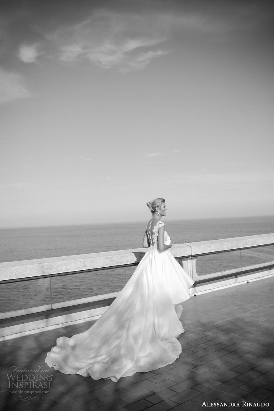 alessandra rinaudo 2017 bridal cap sleeves scoop neckline lace heavily embellished bodice pretty knee length short wedding dress illusion back long train (10) bv
