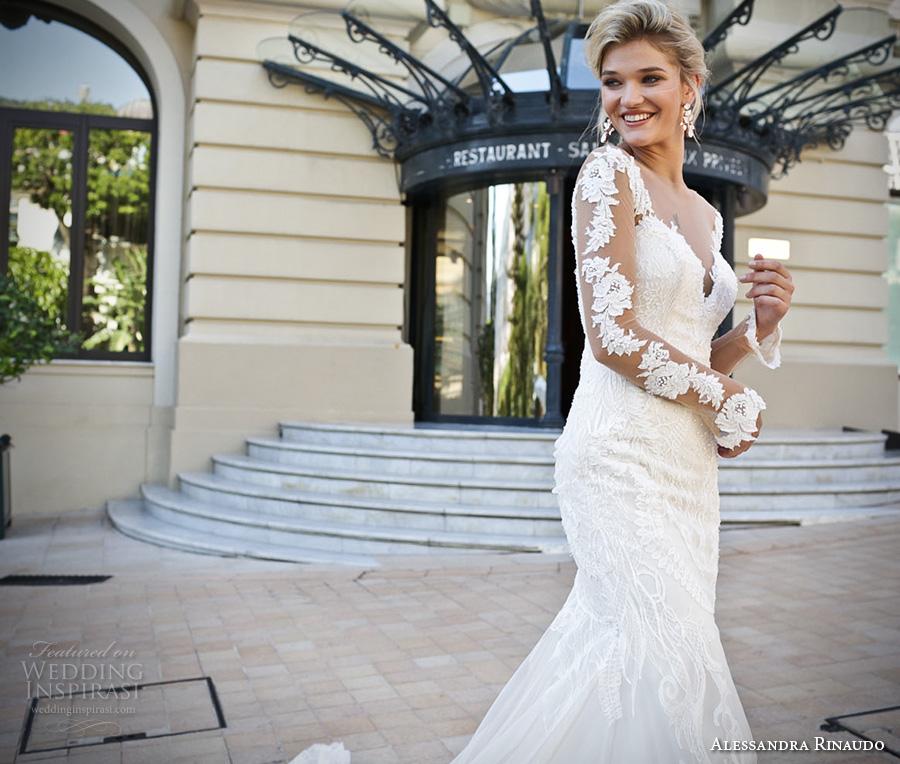 alessandra rinaudo 2017 bridal lace long sleeves illusion boat sweetheart neckline elegant fit and flare wedding dress illusion low back long train (15) zv