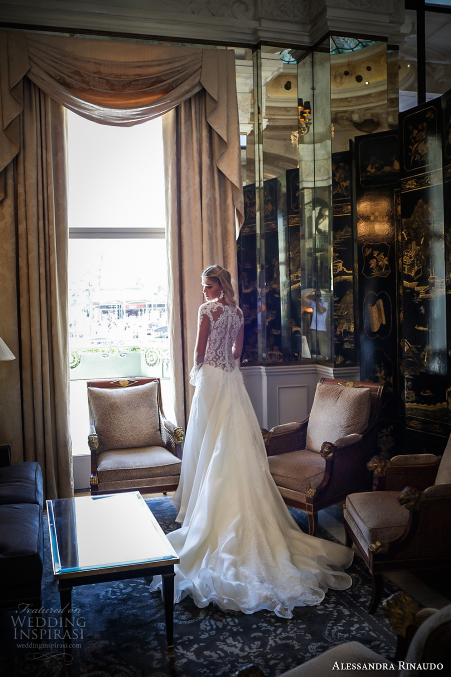 alessandra rinaudo 2017 bridal long sleeves round neck lace heavily embellished bodice drop waist elegant a  line wedding dress lace back long train (29) bv