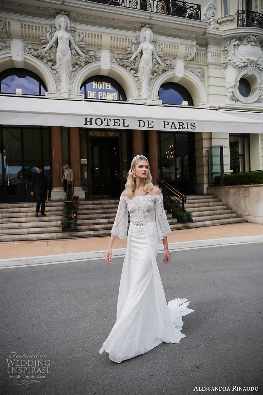 alessandra rinaudo 2017 bridal off the shoulder three quarter bell sleeves lace heavily embellished bodice sexy sheath wedding dress lace back sweep train (5) mv