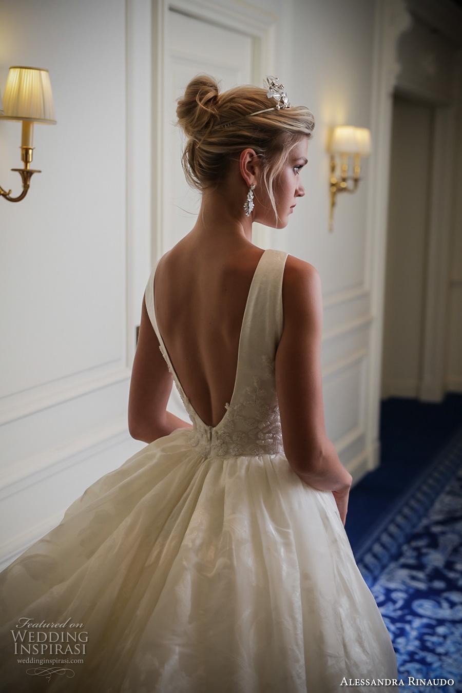 alessandra rinaudo 2017 bridal sleeveless deep v neck full embellishment pretty princess a  line ball gown wedding dress low v back chapel train (8) zbv