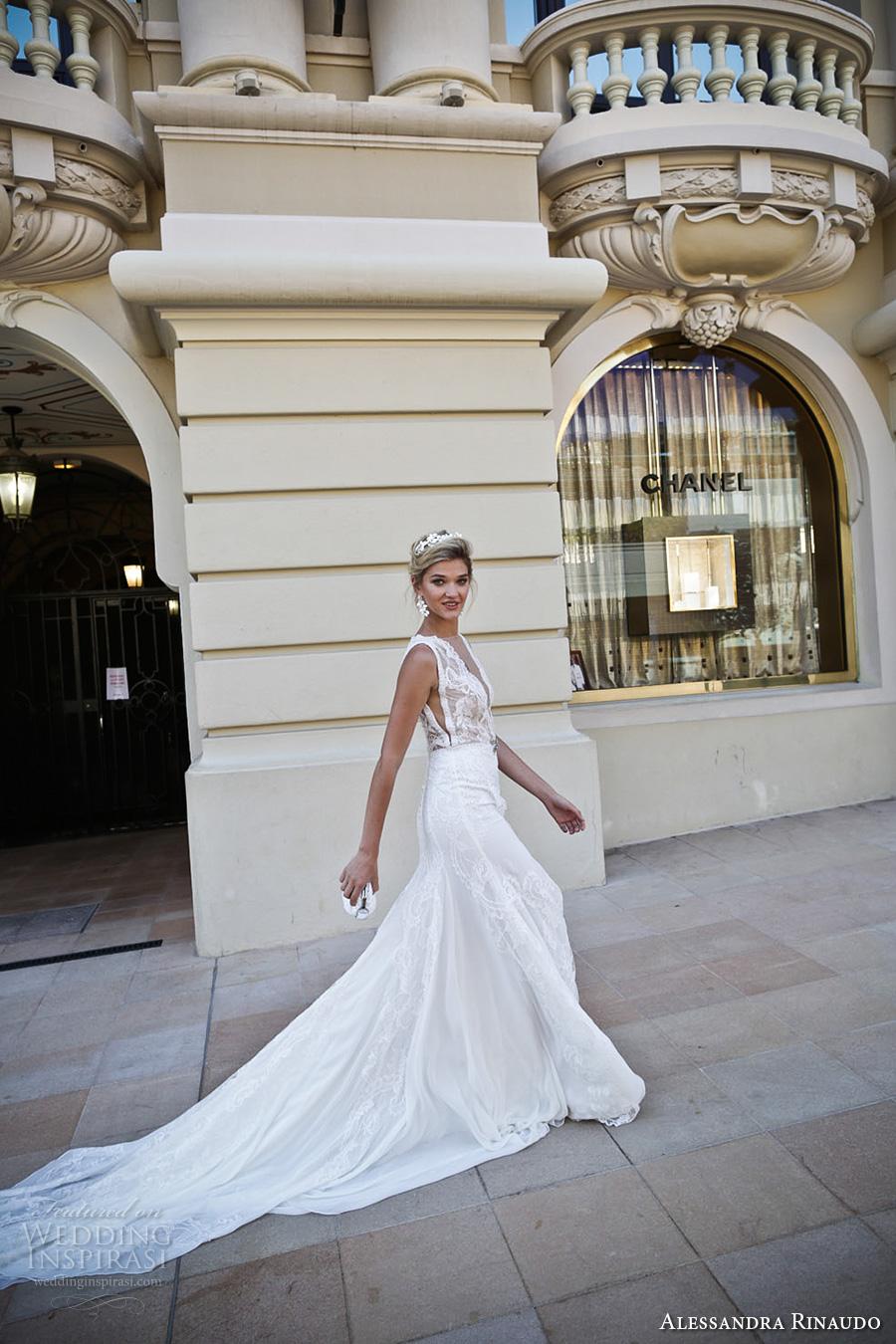 alessandra rinaudo 2017 bridal sleeveless illusion boat deep plunging neck line heavily embellished bodice slit down the middle a  line wedding dress lace back chapel train (16) sdv
