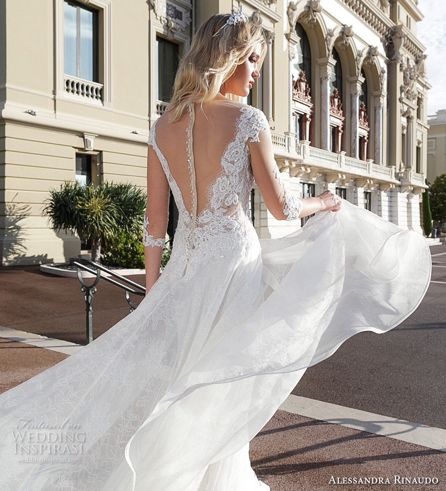 alessandra rinaudo 2017 bridal three quarter sleeves illusion boat plunging v neck heavily embellished bodice romantic a  line wedding dress illusion v back chapel train (1) bv