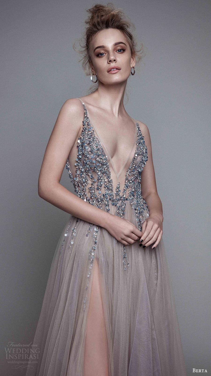 berta rtw fall 2017 (17 11) sleeveless deep v neck a line beaded bodice evening wedding dress slit skirt zfv