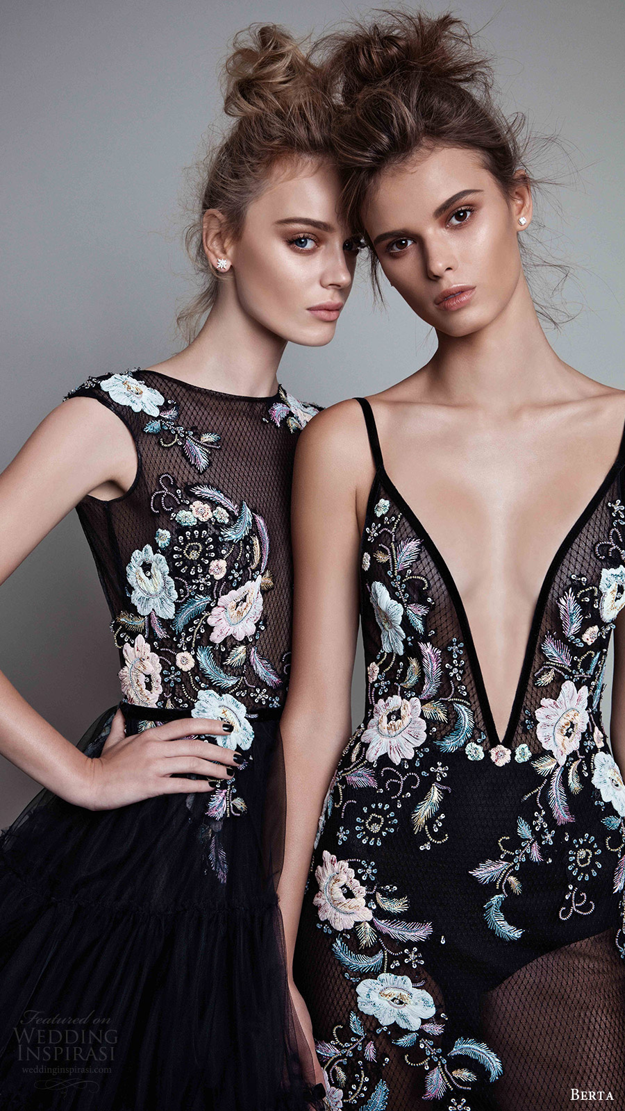 berta rtw fall 2017 (17 25 and 17 22) embroidered beaded black evening dresses