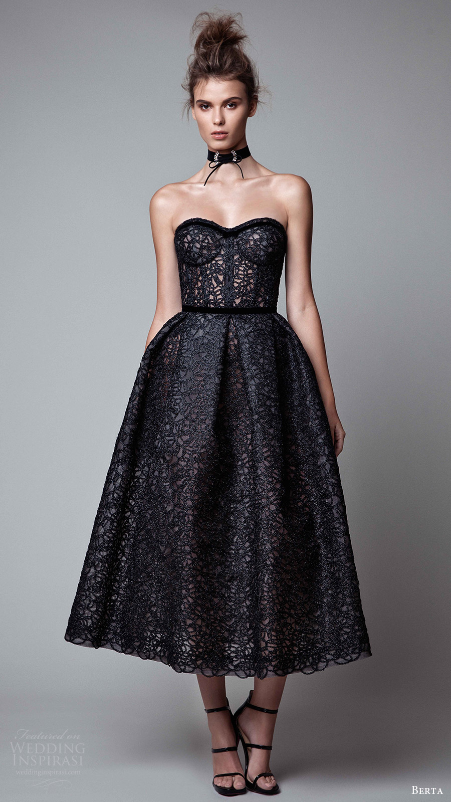 berta rtw fall 2017 (17 33) strapless sweetheart tea length ball gown evening dress mv black