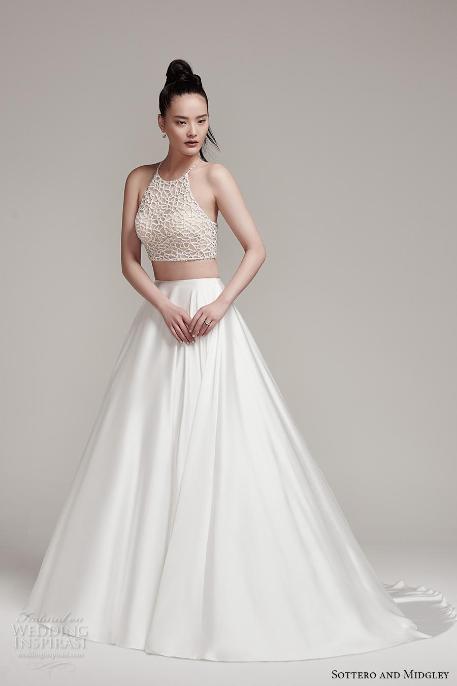 94486d36d182d6 sottero midgley fall 2016 bridal sleeveless halter neck illusion heavily  embellished crop top 2 piece satin