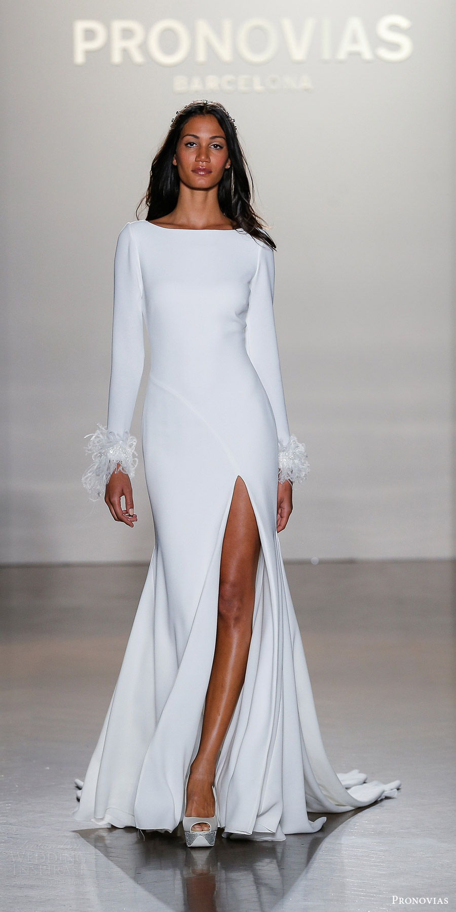 pronovias 2019 bridal long sleeves bateau neck sheath wedding dress (nuria) mv slit skirt train