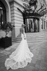 Low-Back Lace Wedding Dress with Long Train
