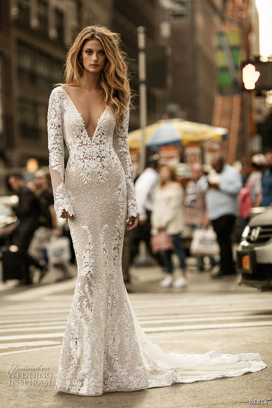 f0e8aa85a0 berta fall 2017 bridal long sleeves deep v neck full embellishment elegant  lace sheath wedding dress