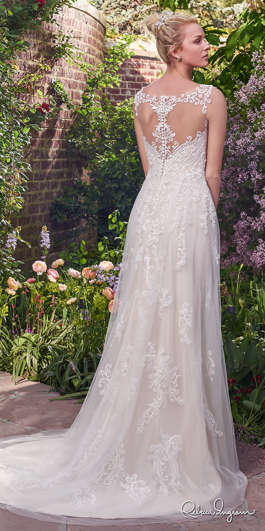474441a8b9 rebecca ingram 2017 bridal sleeveless lace strap illusion scoop sweetheart  neckline heavily embellished bodice romantic modified