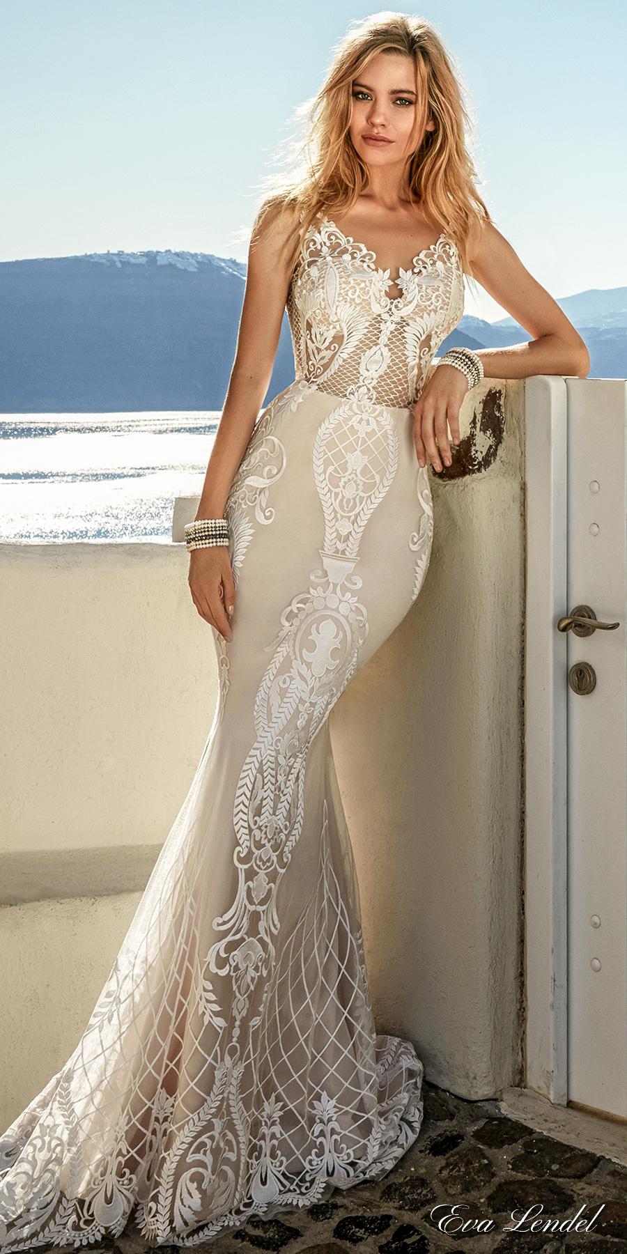 eva lendel 2017 bridal sleeveless thin strap v neckline full embellishment elegant sexy fit and flare wedding dress open low v back sweep train (tailor) mv